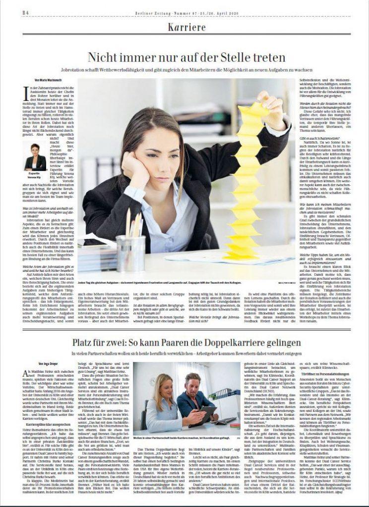 Artikel in der Berliner Zeitung: Nicht immer nur auf der Stelle treten